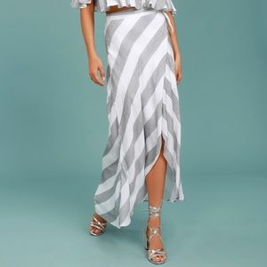 Lulu's Striped Wrap Skirt